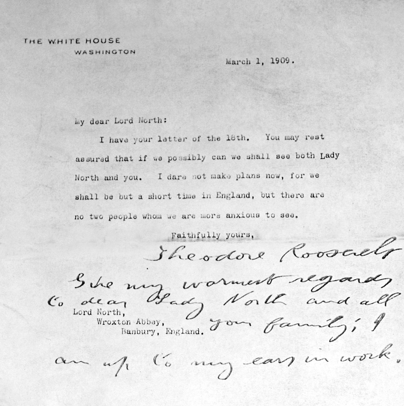 Letter from Theodore Roosevelt 1909