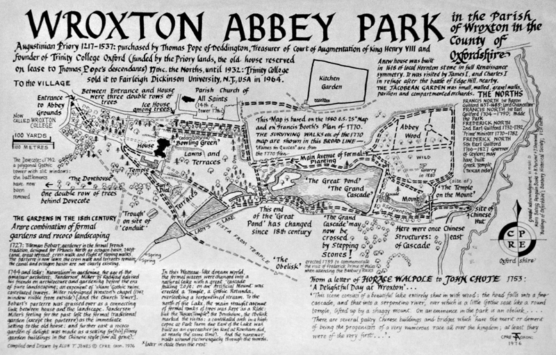 Map of the Wroxton Abbey Park, 1976 1976PMap