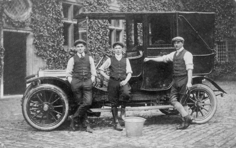 Lord North\'s Chauffeur, Mr Mines, Stud Groom, Mr. Mansfield, and Groom (unknown). The car is a French