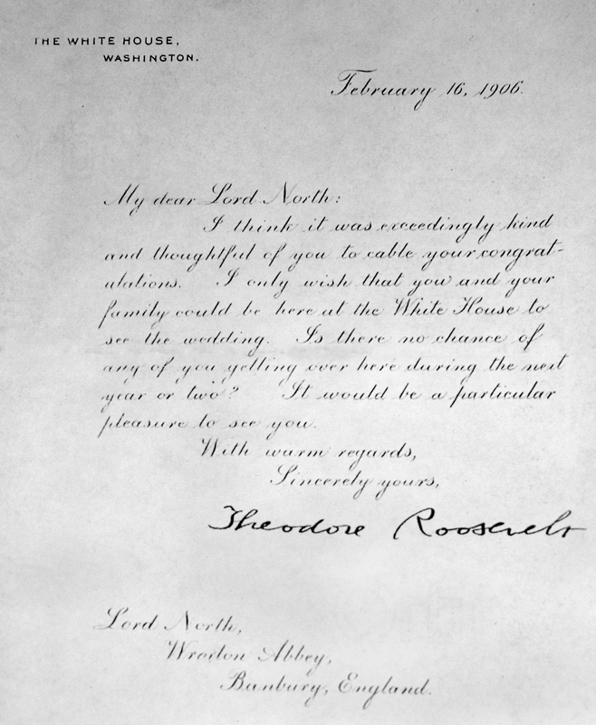 Letter from Theodore Roosevelt 1906