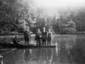 A Fishing Party at the Abbey Lake, 1920s Fishing party, Abbey Lake, early '20's. Mr. T. Taylor holding his catch.
